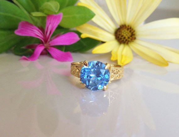 Blue Topaz Ring - December Birthstone - Gold Ring - Prong Ring - Gemstone Ring