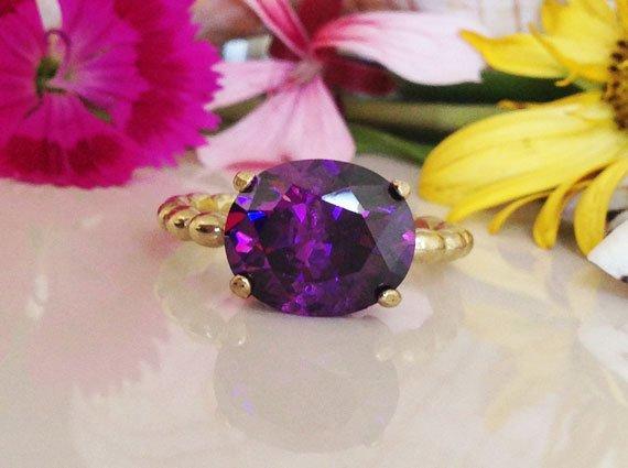Amethyst Ring - Purple Ring - February Birthstone - Gold Ring
