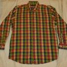 Mens Green Maroon Orange OLIVER HARRIS Button Down Shirt Large
