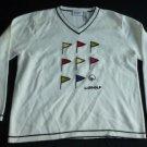 LIZ CLAIBORNE LIZ GOLF Womens Sweater Off White Black Medium EUC