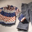 Vintage Barbie & Friends Ken Red White Blue Shirt Jeans Denims For Fun 3376