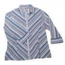 Womens Blue White Gray CROFT & BARROW Stretch Button Front Blouse Medium