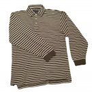 Mens Gray Off White DANIEL CREMIEUX Pullover Half Button Shirt Small
