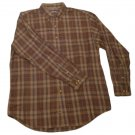 Mens Brown Green ROUNDTREE & YORKE Button Down Shirt Large