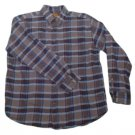 Mens Brown Blue Gray ST JOHNS BAY Flannel Button Down Shirt Large