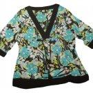 Womens Black Green White STUDIO 1940 Pullover Blouse 18/20W 100% Polyester