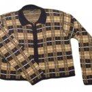 Womens Brown Blue White LIZ CLAIBORNE LIZ SPORT Zip Front Sweater Medium