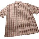 Mens Maroon Brown Tan DOCKERS Button Down Shirt 3XLT 100% Cotton