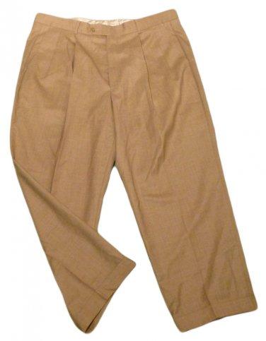 Mens Brown PROFILO Pleated Dress Pants 38 X 26 1/4 100% Wool