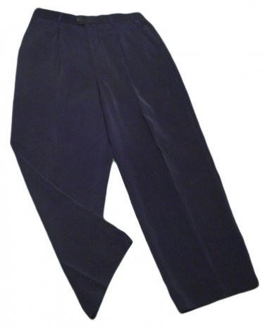 Mens Blue MICHAEL IRVIN COLLECTION Pleated Dress Pants 34 X 28 1/2 100% Micropol