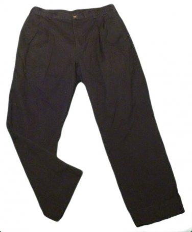 Mens Black JOSEPH A BANKS Pleated Casual Pants 34 X 28 1/2 100% Cotton