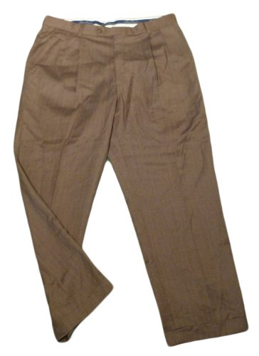 Mens Brown Maroon ALAN FLUSSER Pleated Dress Pants 38 X 29 1/4 100% Wool