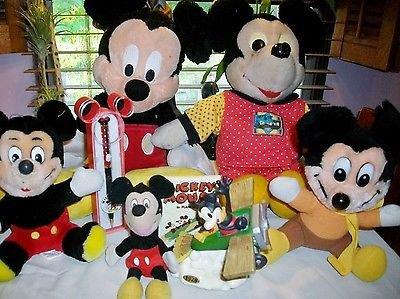 Vtg ~ Walt Disney ~7 pc~ MICKEY MOUSE TOYS 1928 PLANE CRAZY Enesco 3+ Boys Girls