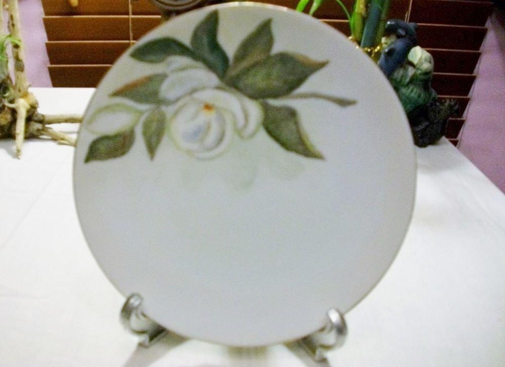 Vintage 1952  WHITE ROSE PLATE TRIMMED w/ GOLD SIGNED by J.S.L + Old HANGER