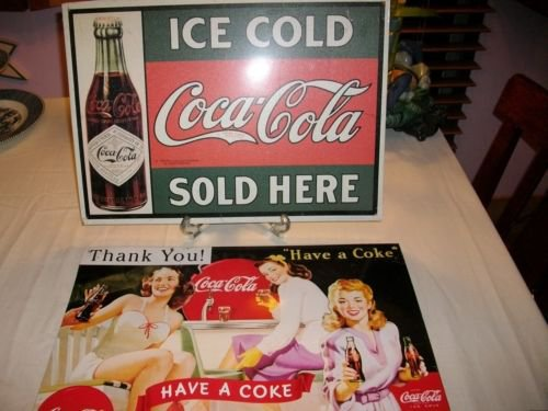 "~2~ COCA COLA TIN SIGN -""ICE COLD-SOLD HERE"" + ""HAVE A COKE"" WOMEN in DINER 50'S"