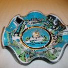 1950's RARE Vintage DISNEYWORLD MAGIC KINGDOM Glass ~Candy Dish ~USA~ BLUE