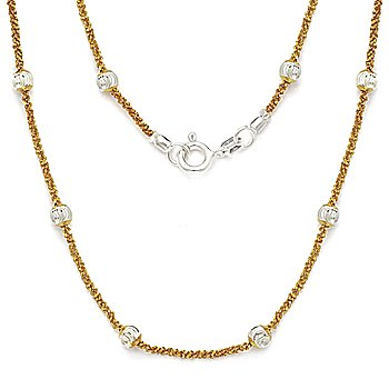 Italian Sterling Silver 14k Yellow Gold Bead & Popcorn Link Italy Chain Necklace