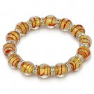 Lampwork Bead Murano Glass Foil Cubic Zirconia Crystal Stretch Bracelet Gold Red