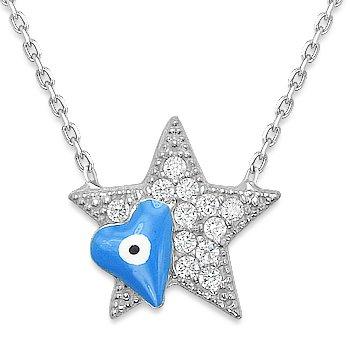 Evil Eye Star Charm Pendant Turkish Nazar Greek Hamsa Sterling Silver Necklace