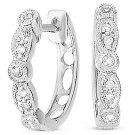 0.06ct Round Cut Diamond Ladies Fashion Huggie / Hoop Earrings in 14k White Gold