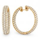 4.52ct Round Cut Diamond Micro Pave Ladies Oval Hoop Earrings 18k Pink Rose Gold
