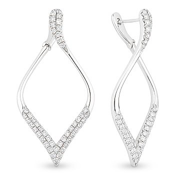 Solid 18k White Gold Round Brilliant Cut Diamond Dangling Drop Fashion Earrings