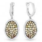 1.92ct Fancy & White Diamond Dangling Drop Earrings 2-Tone 14k White Black Gold