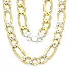 Sterling Silver 14k Yellow Gold GP Figaro 11mm Men's Italian Necklace .925 Italy