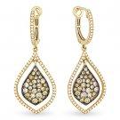 1.60 ct Fancy Color & White Diamond Dangling Earrings in 14k Yellow & Black Gold