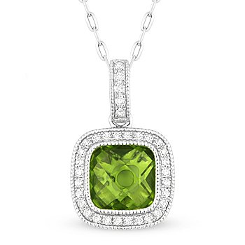 1.67 ct Checkerboard Peridot & Diamond Halo Pave 14k White Gold Necklace Pendant