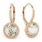 3.35 ct Green Amethyst & Round Diamond Leverback Dangling 14k Rose Gold Earrings