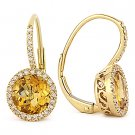 2.55 ct Round Cut Citrine Diamond Leverback Dangling Earrings in 14k Yellow Gold