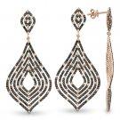 3.54 ct White Black Diamond Pave Drop Dangling 14k Rose Gold Chandelier Earrings