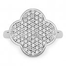 Sterling Silver Cubic Zirconia CZ Crystal Pave Cocktail 4-Leaf Clover Irish Ring