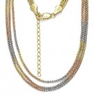 925 Sterling Silver 14k Yellow Rose Gold Popcorn Link Rope Multi-Chain Necklace