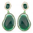 31.40 ct Agate, Green Garnet & Diamond 14k Yellow & Black Gold Dangling Earrings
