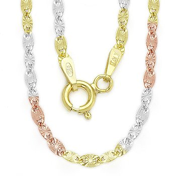 Sterling Silver 3-Tone 14k Gold Plated 2.5mm Valentino Link Italy Chain Necklace