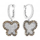 3.43ct Round Cut CZ Crystal Pave Dangling 925 Sterling Silver Butterfly Earrings