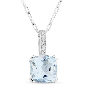 1.91 ct Cushion Cut Blue Topaz Gemstone Diamond Pendant Chain Necklace 14k Gold