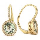 2.91 ct Green Amethyst Round Diamond Leverback Dangling 14k Yellow Gold Earrings