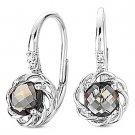1.09ct Smoky Topaz Round Cut Diamond Leverback Dangling Earrings 14k White Gold