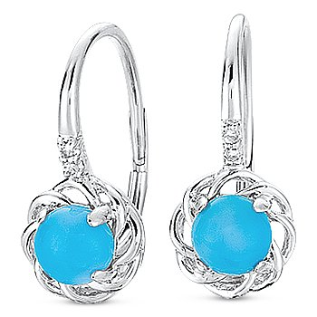 1.02ct Blue Turquoise & Round Diamond Leverback Dangling Earrings 14k White Gold