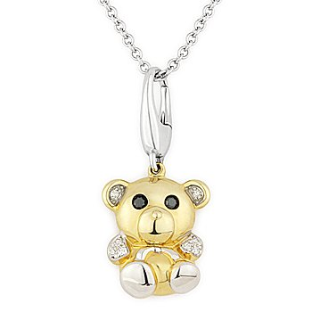 0.05ct Diamond Teddy Bear Animal Charm Necklace Pendant 14k Yellow & White Gold