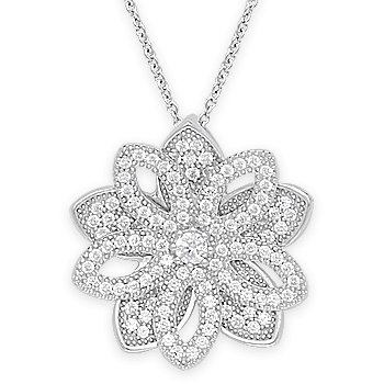 Flower Charm Micro-Pave CZ Crystal Pendant & Chain Necklace 925 Sterling Silver