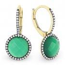 4.36ct Agate White Topaz Gem Doublet Diamond Leverback 14k Yellow Gold Earrings
