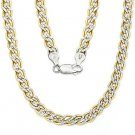 2-Tone Sterling Silver & 14k Double-Curb Cuban 5.7mm Link Italian Chain Necklace