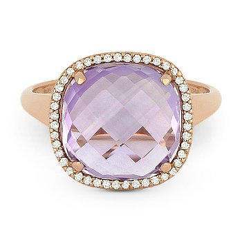 5.22ct Cushion Pink Amethyst & Diamond Right-Hand Cocktail Ring in 14k Rose Gold