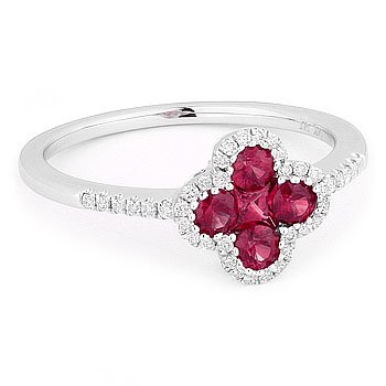 0.57ct Round Princess Cut Red Ruby Diamond Right-Hand Flower Ring 14k White Gold