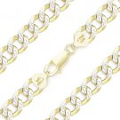 Cuban Curb Sterling Silver 14k Yellow Gold Men's 9mm Link Italy Chain Bracelet