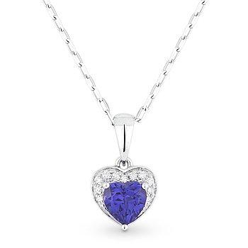 0.67 ct Blue Corundum & Diamond Heart Charm Pendant & Chain in 14k White Gold